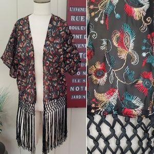 Forever 21 | M multi color embroidered kimono